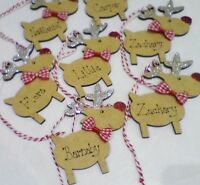 Personalised Reindeer Christmas Tree Decoration Decorated Childs Name Bauble
