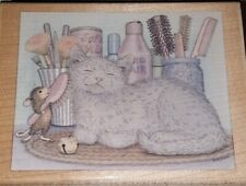 House mouse, pampurred,cat,stampabilities, B2,rubber , wood