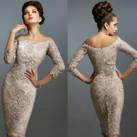 Champagne Mother Of the Bride/Groom Dress Knee Length Lace Applique Party gowns