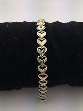 "New Solid 14K Tri Color Gold 7"" Diamond Cut Heart Link Bracelet 6.8 mm 6.1 grams"