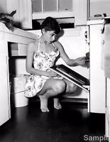 Audrey Hepburn In Kitchen Film Star Glossy Black & White Photo Print Picture