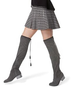 Madden Girl Prissley Over-The-Knee Tassel Stretch Boots Size 8M Grey S1