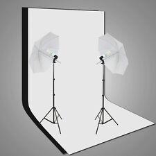 Photo Studio Umbrella Lighting Stand Video Black White Backdrop Background Kit