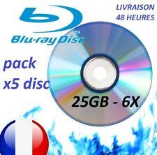 pack 5 Disques Blu-ray enregistrable 25Go vitesse 6X BD-R 25Gb Bluray vierge FR
