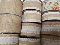 Hessian Burlap Jute Ribbon with Lace Plain Wired & Vintage Rose Cut to order