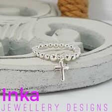 INKA Sterling Silver stacking Stretch Ring Thumb ring With mini cross Charm