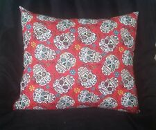Couch Pillow -  Day Of The Dead Skeleton Head Pillow - Red