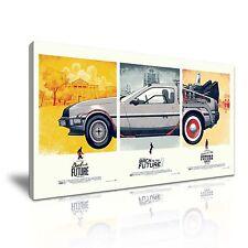 Back to the Future Movie DeLorean Car Canvas Wall Art Picture Print 60x30cm