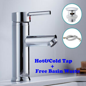 Bathroom Basin Sink Mono Mixer Tap Cloakroom Chrome Brass Faucet With Free Waste