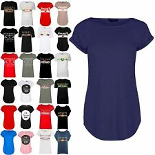 Womens Ladies Crew Neck Plain Curved Hem Jersey Short Turn Up Sleeve T Shirt Top