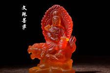 Tibetan Buddhism glass Bodhisattva Manjusri Glaze Glass Buddha statue