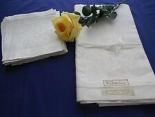 Vintage White Irish Damask Tablecloth & 8 Napkins Original Labels 66 x 84