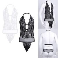 Men's Lace Floral Sissy Pouch Bodysuit Slim Fit Thong Leotard Underwear Jumpsuit