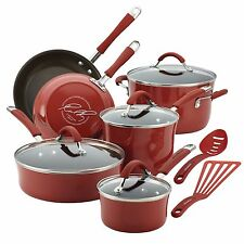 Nonstick Cookware Set 12 Pc Oven Safe Red Porcelain Enamel Lid Pots Rachel Ray