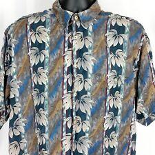 Burma Bibas Hawaiian Mens Floral Silk Shirt Size Large Leaves Multi Color