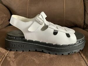Sketchers USA Jammers Aprox Size Uk 7 White Leather Platform Sandals Durable