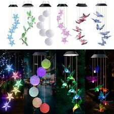 Solar Powered LED Hummingbird Wind Chime Light Color Changing Yard Garden Decor