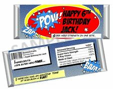 Super Hero Candy Bar Wrappers - Child or Adult Birthday - Set of 12