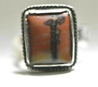 Petrified Wood ring Fred Harvey pinky Navajo Sterling Silver women Size 5.25