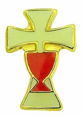 White Enamel Cross with Red Chalice First Communion Lapel Pin, 5/8 Inch