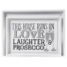 2pc Prosecco Printed Slogan Design Snack Breakfast Food Kitchen Serving Tray Set