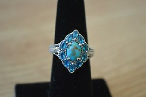 2.20ct South Hill Turquoise /Apatite /Zircon Ring Platinum over Fine Silver Sz 6