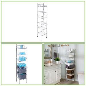 Rust Resistant 6 Tier Metal Chrome Tower Bathroom Shelf Storage Rack Organizer