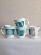 Set of 4 Corelle By Corning Teal Sundance Cups Mugs