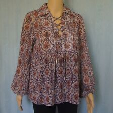 """NEW"" LIMITE Womens Long Sleeve Sheer Top Lace up Front Brown / Purple Size 10"