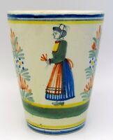 Vintage Henriot Quimper Breton Woman France Pottery Ceramic Mug Tumbler