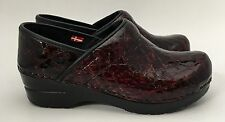 Sanita Dark Burgundy Faux Croc Clogs Shoes Size 36 US 5.5/6