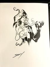 "Original Art Mary MJ Venom By Mark Bagley Sketch  Ink 8 X 11"" Venomized White Pp"