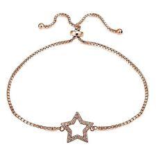 Rose Gold Tone over Sterling Silver Cubic Zirconia Star Adjustable Bracelet