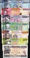 Guinea 7 Pcs SET, 100 500 1000 2000 5000 10000 20000 Francs 2015 2017 2018, UNC