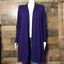 Chico's 2 Long Duster Cardigan Solid Dark Purple Long Sleeve Large