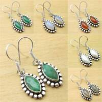 925 Silver Plated MARQUISE SIMULATED EMERALD & Other Gems HANDCRAFTED Earrings