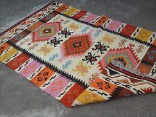 Vintage Geometric Nomad Red 5x8 Kilim Turkish Afghan Kelim Handmade Woollen Rug