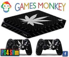 Skin PS4 SLIM - MARIJUANA BLACK - Cover Adesiva Vinile Lucido HD Playstation 4