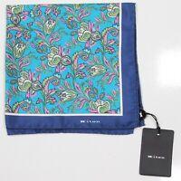 New! Kiton Current $220 Blue/Aqua Floral Handrolled Silk Pocketsquare
