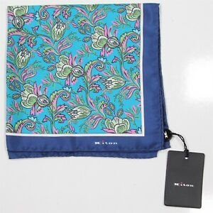 New! Kiton Current $220 Blue/Aqua Floral Handrolled Silk Pocketsquare
