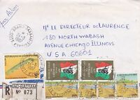 BD807) Ivory Coast 1987 nice registered airmail cover to USA