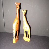 Vintage Hand Carved Wooden Giraffe Figurine Sculpture Genuine Made in Kenya