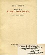 CECCHI Emilio, Appunti per un periplo dell'Africa. 1954. Dedica autografa