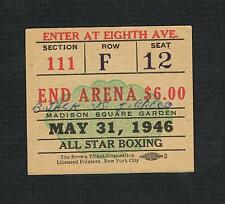 1946 BEAU JACK  vs GRECO boxing ticket Carkido Victoria Gromada LaRusso Gordon