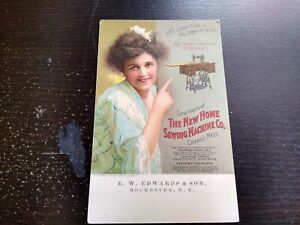 Vintage New Home Sewing Machine Co. Orange Mass. Advertising Photo Postcard