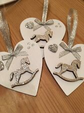 4 X Christmas Decorations Rocking Horse Shabby Chic Real Wood Heart Bows Silver