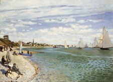 The Beach at Sainte Adresse by Claude Monet Giclee Print Repro on Canvas