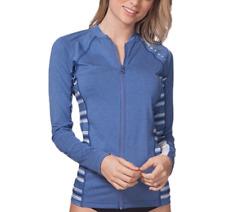 Rip Curl Trestles Women's size XL Blue Long Sleeve RashGuard FrontZip Surf Swim