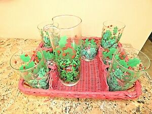 Vintage Mid Century Georges Briard Christmas Glasses Pitcher Tumblers in Basket