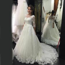 Elegant White/Ivory Lace applique 3/4 Sleeve Bridal Gown Wedding Dress Custom SZ